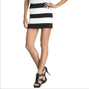 PDB Black and White asymmetrical stripe skirt